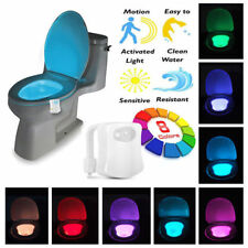 LED Motion Toilet Night Light Bowl Seat 8 Colors Body Sensing Automatic Bathroom