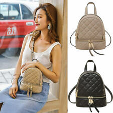 Convertible Quilted Real Leather Small Mini Backpack Rucksack Shoulder bag Purse
