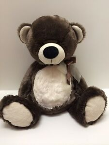 Plush Bear Ultra Soft Salesman Sample Stuffed Animal Brown White 18 inches Tall