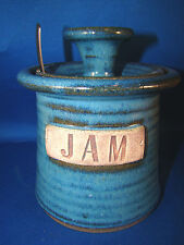 Handcrafted Pottery Stoneware Lidded BLUE Graphic Jam Jar With Spoon @1