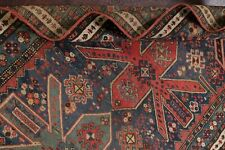 Antique Tribal Vegetable Dye DENIM BLUE Shirvan Caucasian Wool Runner Rug 3'x7'