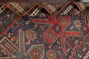 Antique Tribal Vegetable Dye DENIM BLUE Shirvan Caucasian Wool Runner Rug 3'x7'