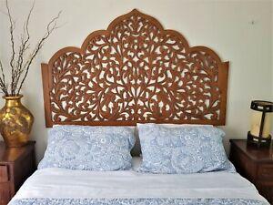 Bed head Moroccan Headboard Wall Art Hanging Wood Panel Carving Balinese 160cm