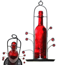 Red Wine Bottle Seed Bird Feeder Easy Fill Bright Colorful Attracts Birds