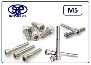 M5 5MM STAINLESS STEEL SOCKET CAP SCREW ALLEN BOLT LENGTHS OF 8MM TO 100MM LONG