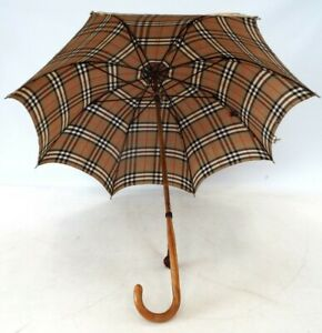Vintage PARAGON FOX FRAMES Umbrella Wooden Handle With BURBERRY Canopy - M17