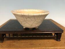 "Mame Size Cream Crackle Glazed Bonsai Tree Pot By Imaoka Machinao 3 7/8"""