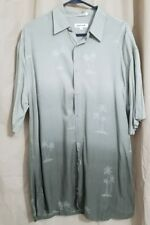 Pierre Cardin Men's Beige Hawaiian Print Button Down Shirt  size L Rayon