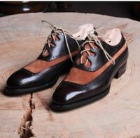 Vintage Black Brown Two Tone Genuine Leather Lace Up Oxford Handmade Men Shoes