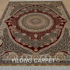 YILONG 5'x7' Vintage Silk Hand-Woven Rug Medallion Signed Oriental Carpet 1052