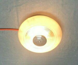 Vintage Mid Century Round Deco Bullseye Chrome Flush Mount Ceiling Light 90-21E