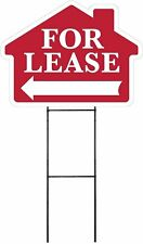 Large 18x24 Home For Lease Red House Shaped Sign Kit With Stand