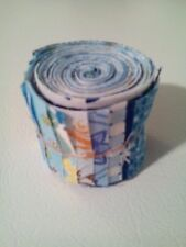 """20 Pre-cut Cotton Quilting Fabric Strips jelly roll 2"""" x 18""""  Blue"""