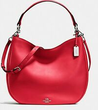 NWT COACH NOMAD Leather Hobo SHOULDER Crossbody HANDBAG $495 True Red