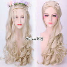 A song of ice and fire Daenerys Targaryen Long Blonde Curly Cosplay Wig+Wig Cap