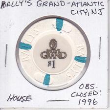 $1 CASINO CHIP - BALLY'S GRAND - ATLANTIC CITY, NEW JERSEY HOUSE MOLD OBSOLETE
