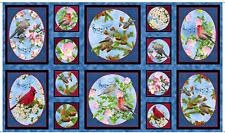 "Fabric Songs of Nature Birds Cardinal Quilt Panel 23"" x 22"""