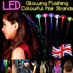 LED Glow Flashing Hair Tinsel Strands Clip Extensions Colours   24 Hrs Delivery