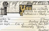 "HALLOWEEN POSTCARD, SCHOOL INVITATION PUBLISHED BY COOK DAVID C, ""CORDIALLY..."""