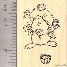 Bunny Juggling Easter Eggs Rubber Stamp, Rabbit J16913 WM