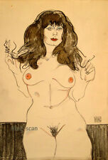 Original graphite drawing-signed-Egon Schiele Klimt Picasso-era