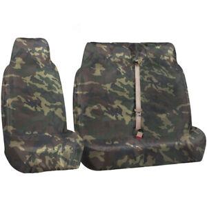 FORD TRANSIT MK5 MK6 MK7 MK8 - HEAVY DUTY GREEN CAMOUFLAGE VAN SEAT COVERS - 2+1