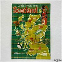 Scotland greetings Tourist Map Postcard (P574)