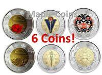6 Canada coins:2020 Bill Reid +End of WWII +2018 Armistice Color+No-Color Toonie