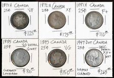 (1871-1947) SIX CANADA QUARTERS with CAT VALUE ~$900 USD > MUST SEE > NO RSRV