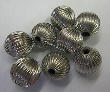 8 x 14mm Metal Ridge Ball Beads In Silver Tone Beading & Jewellery Making JF486