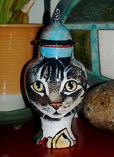 Custom Memorial CERAMIC SMALL Pet urn for CAT ashes tabby cats any animal art