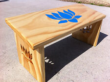 Handcrafted Blue Lotus Meditation Bench. Painted Lotus Flower and Lotus Legs