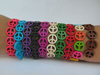 UNISEX STONE PEACE HIPPY LOVE FASHION ELASTICATED FRIENDSHIP BRACELET WRIST BAND