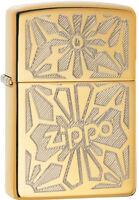 Zippo Ornament Logo High Polish Brass Windproof Lighter 28450 New