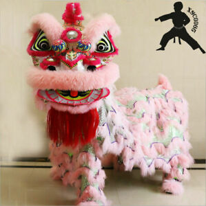 Chinese Kung Fu Foshan Lion Dance Mascot Costume Two Adult(Pink ) 佛山舞狮