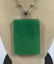 925 silver green jade large Square shape pendant (without chain)