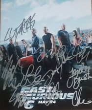 Paul Walker And Cast Of The Fast and the Furious Autographed 8 1/2 X 11 With COA