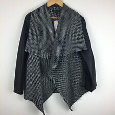 Baccini Women's Cardigan Jacket Black White Knit W/ Zipper Faux Leather Large