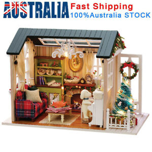 DIY Miniature Dollhouse Kit Realistic Mini 3D Wooden House Room Christmas Gifts