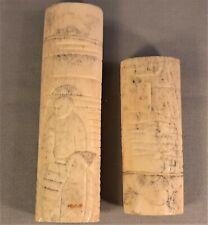 Antique Japanese Carved Bovine Bone Samurai Sword Handle Parts