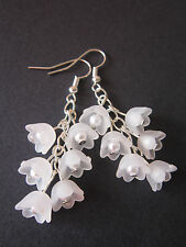 Drop / Dangle Earrings - Snowdrop Cluster - White Lucite Flowers - Silver Plated