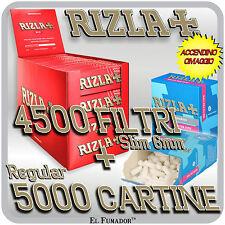 4500 Filtri SLIM 6mm + 5000 Cartine RIZLA ROSSE CORTE RED + ACCENDINO OMAGGIO