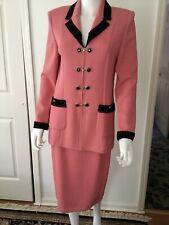 New St. John Santana Knit Salmon Pink & Black Skirt Suit Jacket Sz 6 Skirt Sz 10