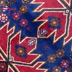Handmade Afghan Kazakh Rug 100% Camel Hair, Tribal Design, Bright Blue & Red 4x6