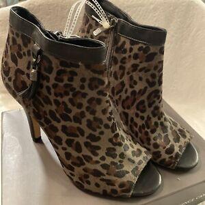 Vince Camuto open toe booties , Dusk Leopard Napa Multi/Grey Size 10