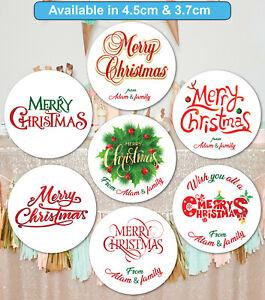 Merry Christmas Stickers Label Santa present Personalised MATT & GLOSS Q24 & 35