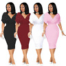 Women V Neck Beaded Solid Color Bodycon Party Evening Club Cocktail Dress