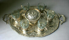 Persian Silver plated Tea Set with Tray, Sugar Bowl and Arcoroc France Plates