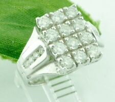 1.25 ct 14k Solid  White Gold Ladies Diamond Ring Pre owned April Birthstone