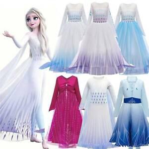 Kids Baby Eiskönigin Frozen 2 Elsa Anna Prinzessin Partykleid Kostüme Kleider DE